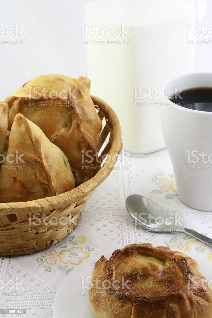 One pie and basket of patty stock photo