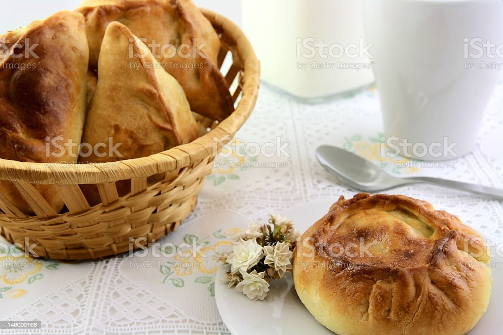 One pie with flower and basket of patty stock photo