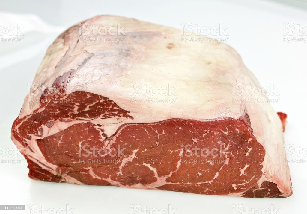 One Piece of raw sirloin on white background. stock photo