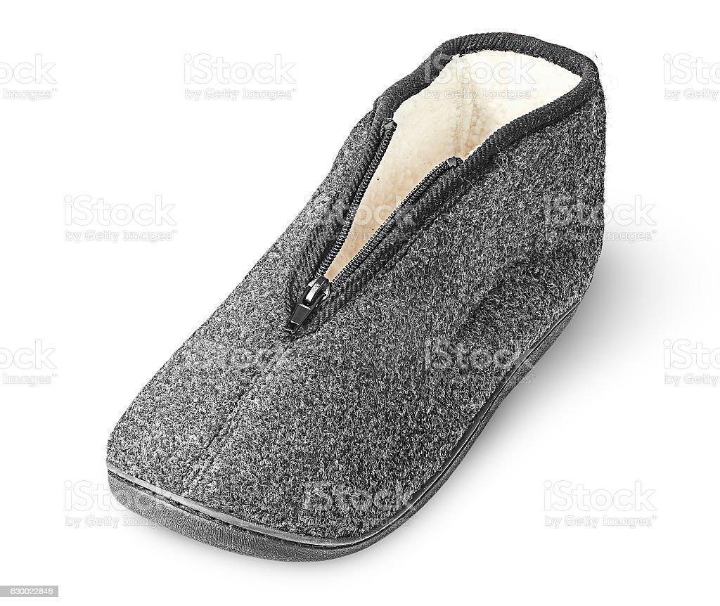 One piece the comfortable dark gray slipper stock photo