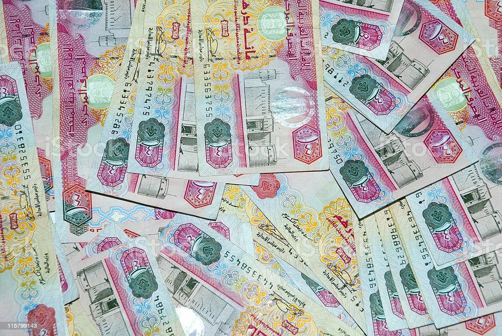 One pile of United Arab Emirates 100 Dirham notes royalty-free stock photo