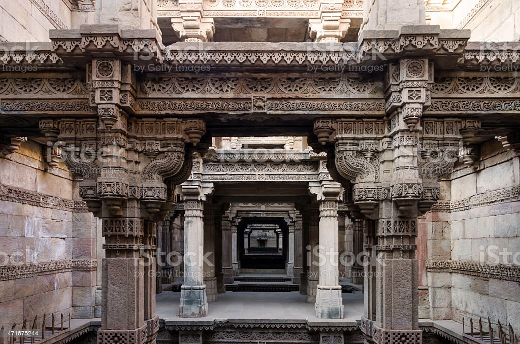 One Point Perspective at Adalaj Stepwell in Ahmedabad stock photo