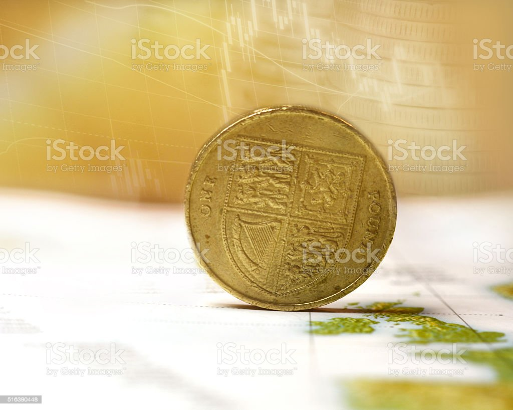 One pound coin stock photo