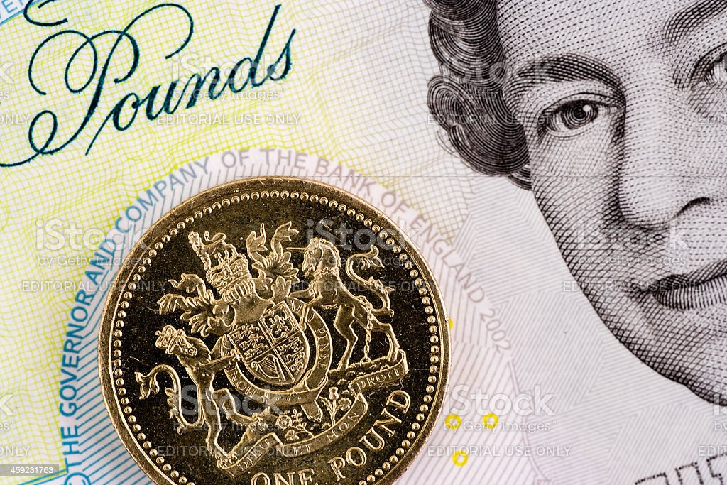 One Pound Coin - Queen Elizabeth II royalty-free stock photo