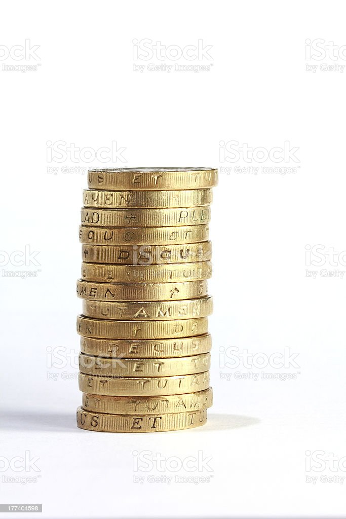 one pound coin stack royalty-free stock photo