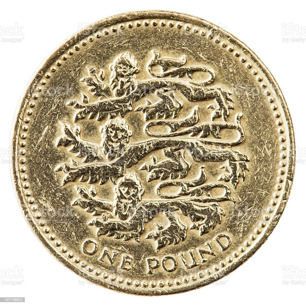 One Pound Coin With English Lions royalty-free stock photo