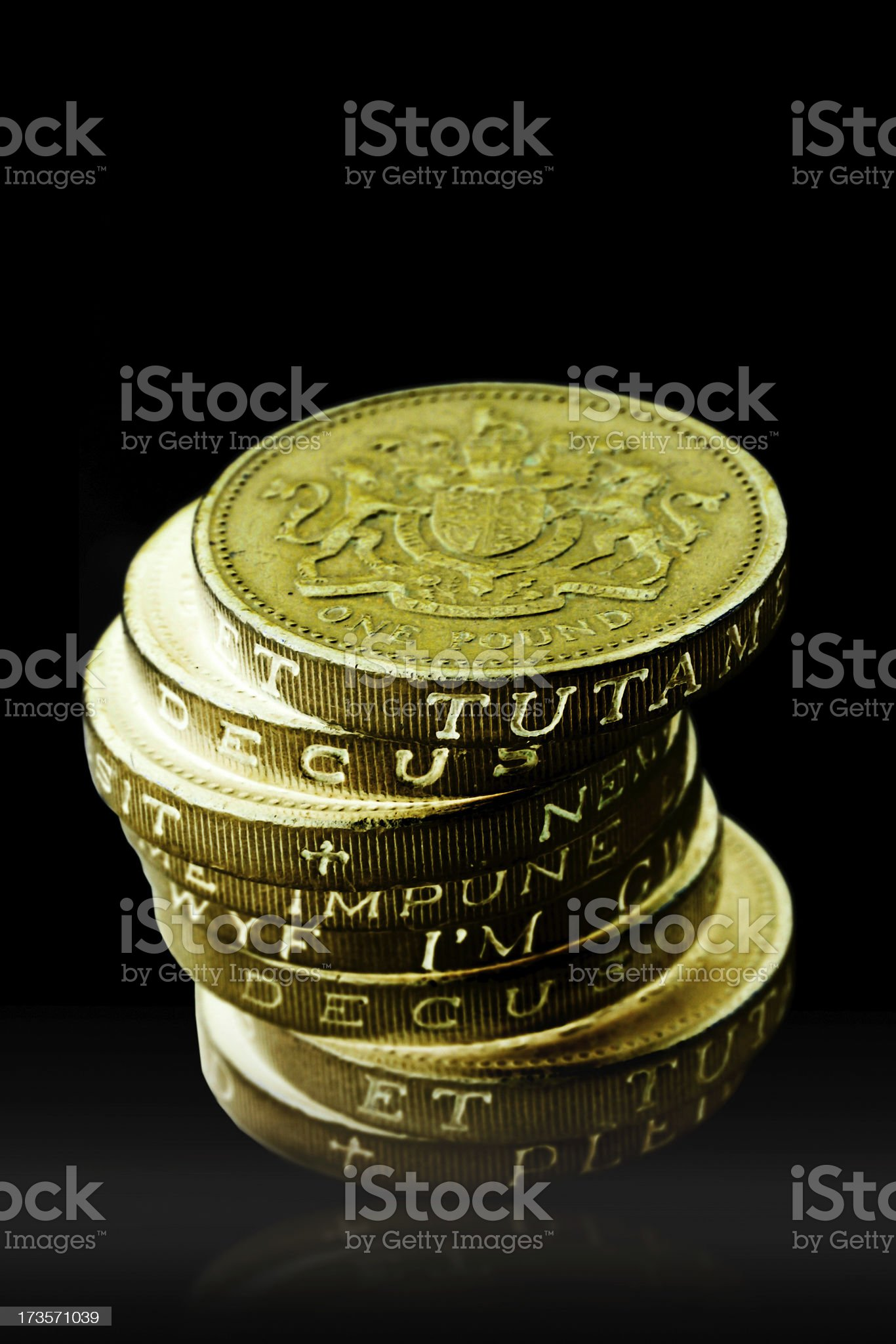 One Pound Coins royalty-free stock photo