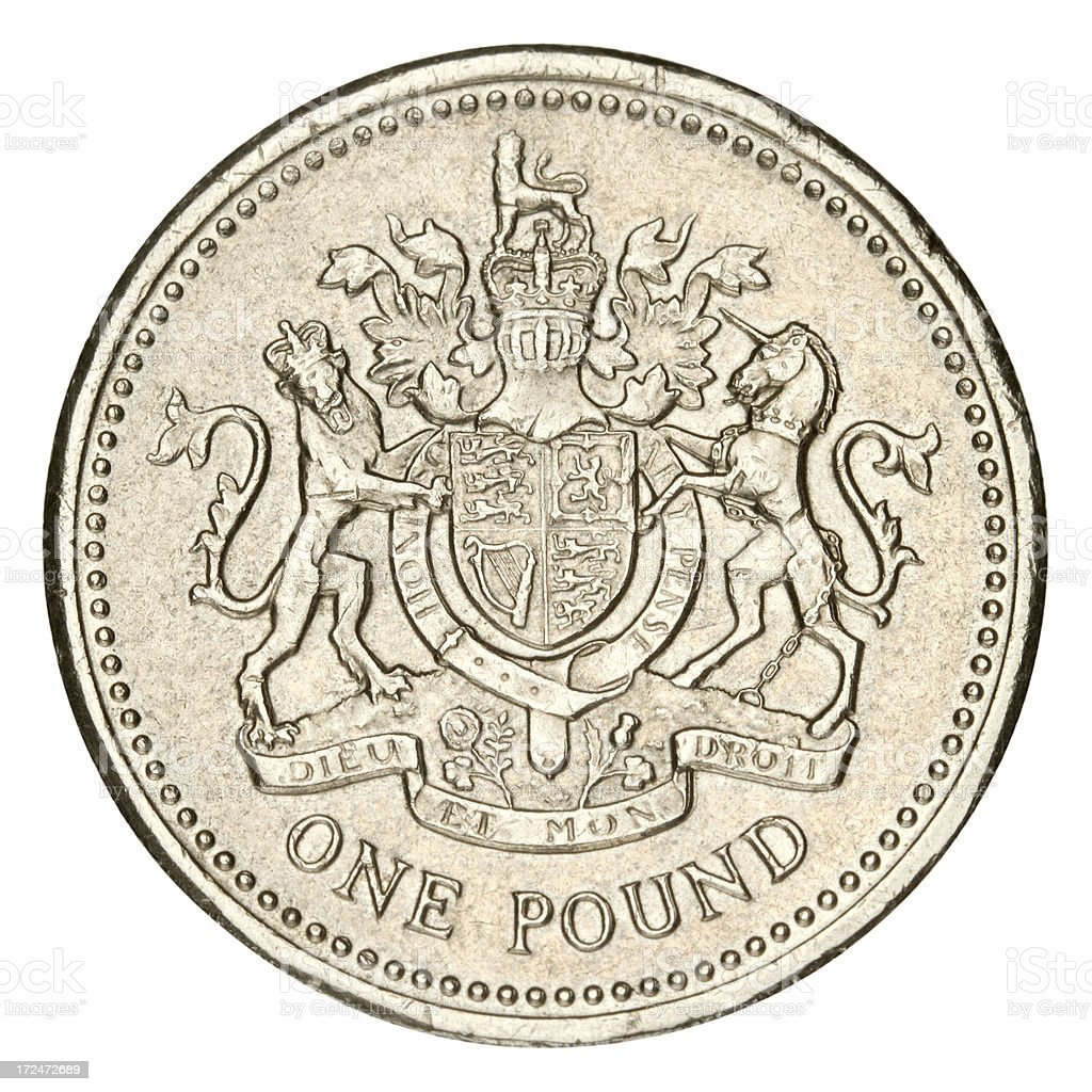 One Pound on white background stock photo