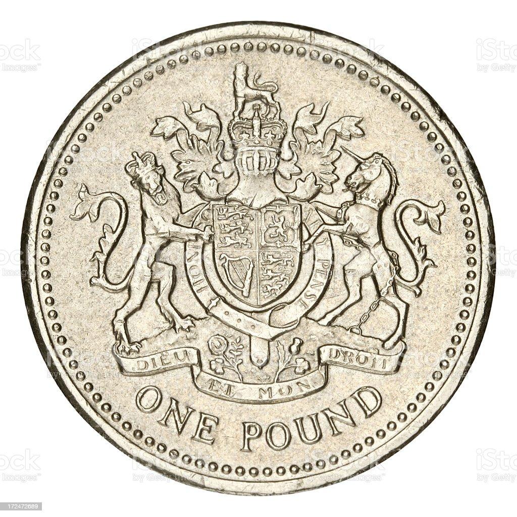 One Pound on white background stock photo