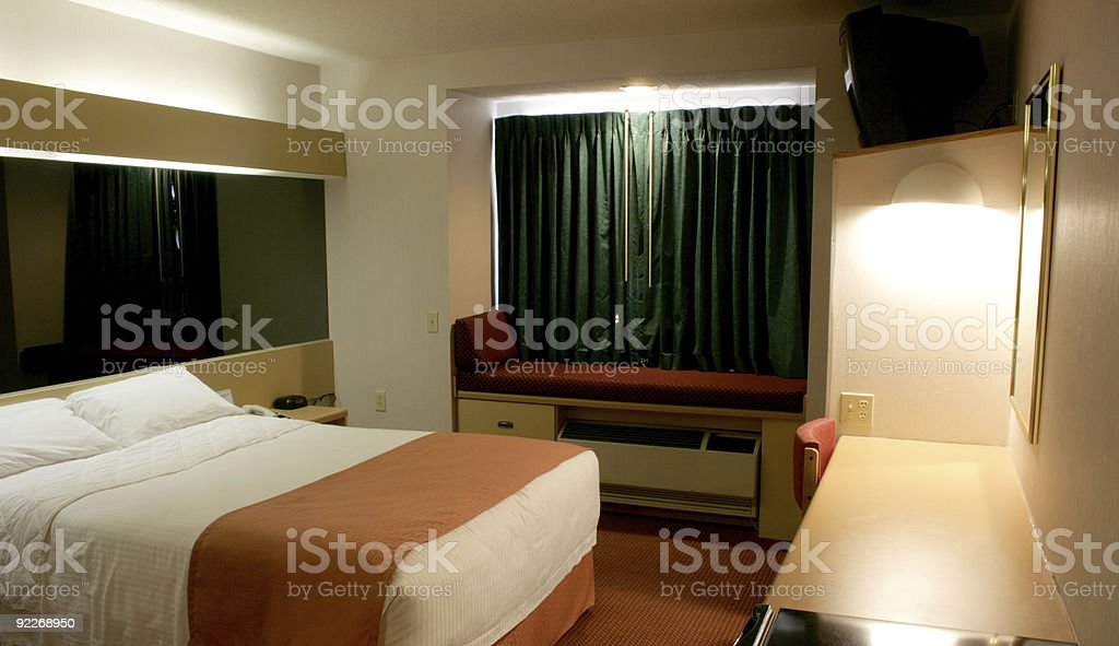 one queen hotel bedroom stock photo