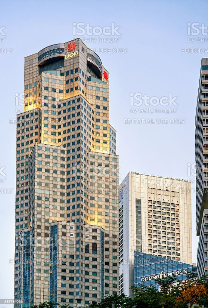 One Raffles Place and UOB Plaza in Singapore skyline stock photo