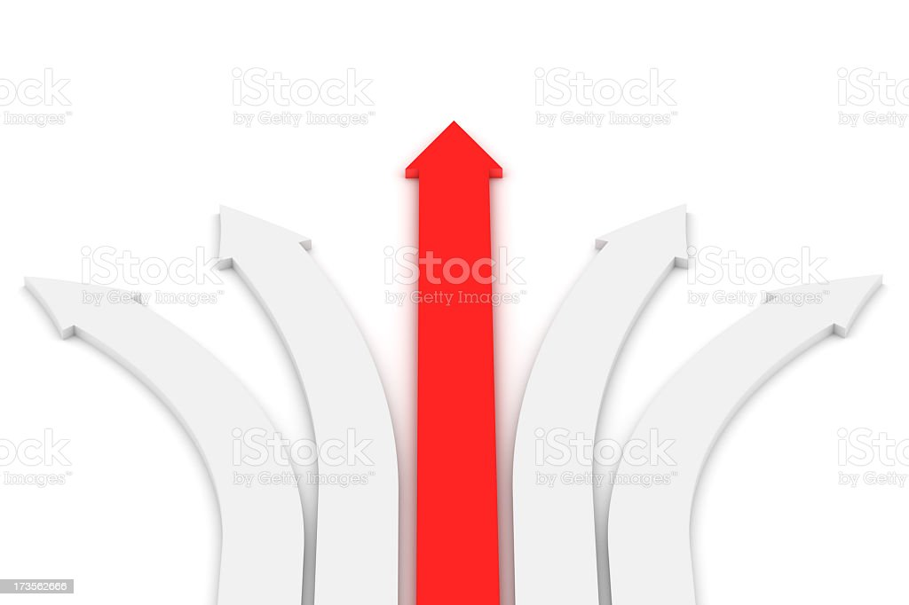 One red arrow going straight with four white curved arrows royalty-free stock photo