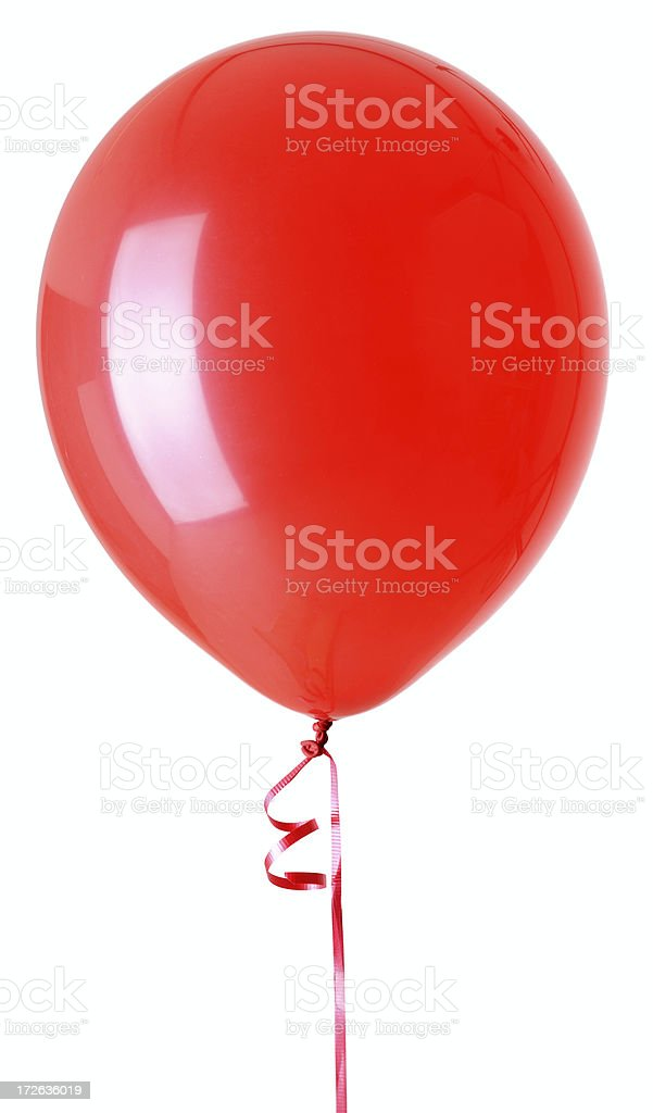 One Red Balloon Isolated on White Background stock photo