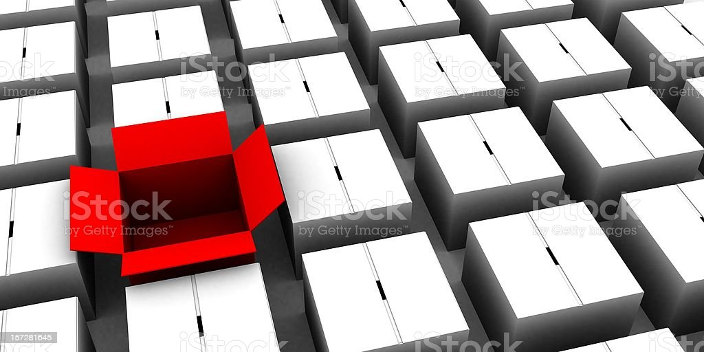 One Red Box Open stock photo