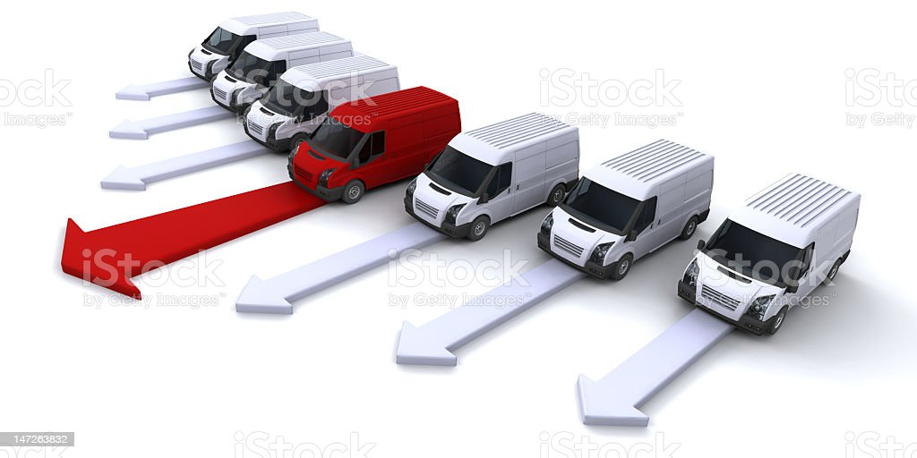 One red car in a line of many white cars royalty-free stock photo