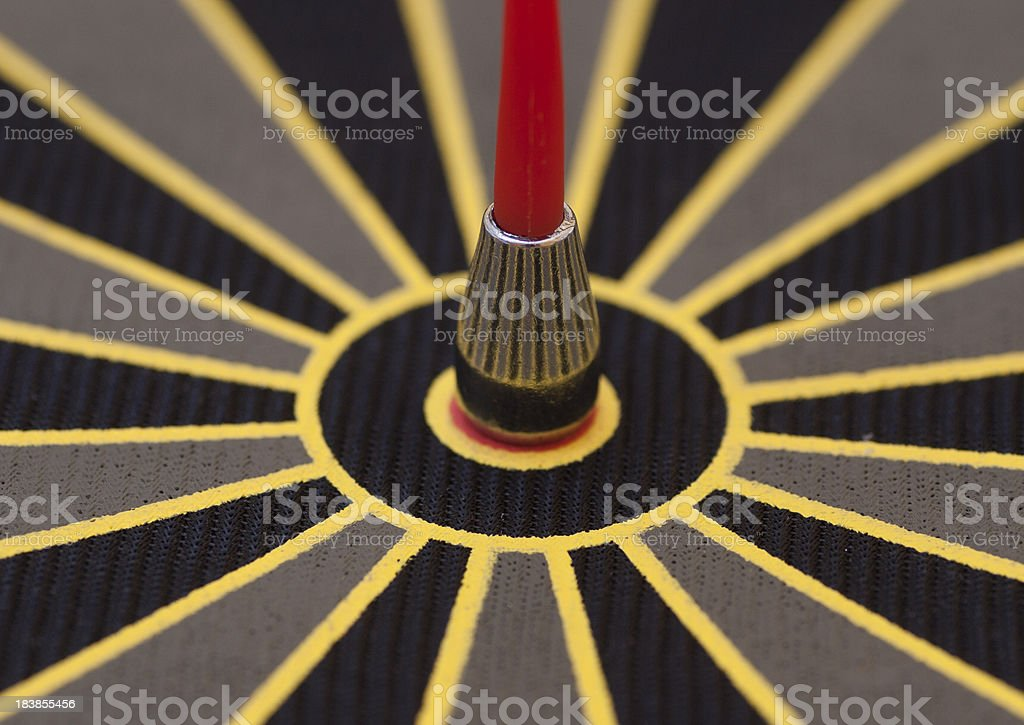 One red dart in Bulls Eye royalty-free stock photo