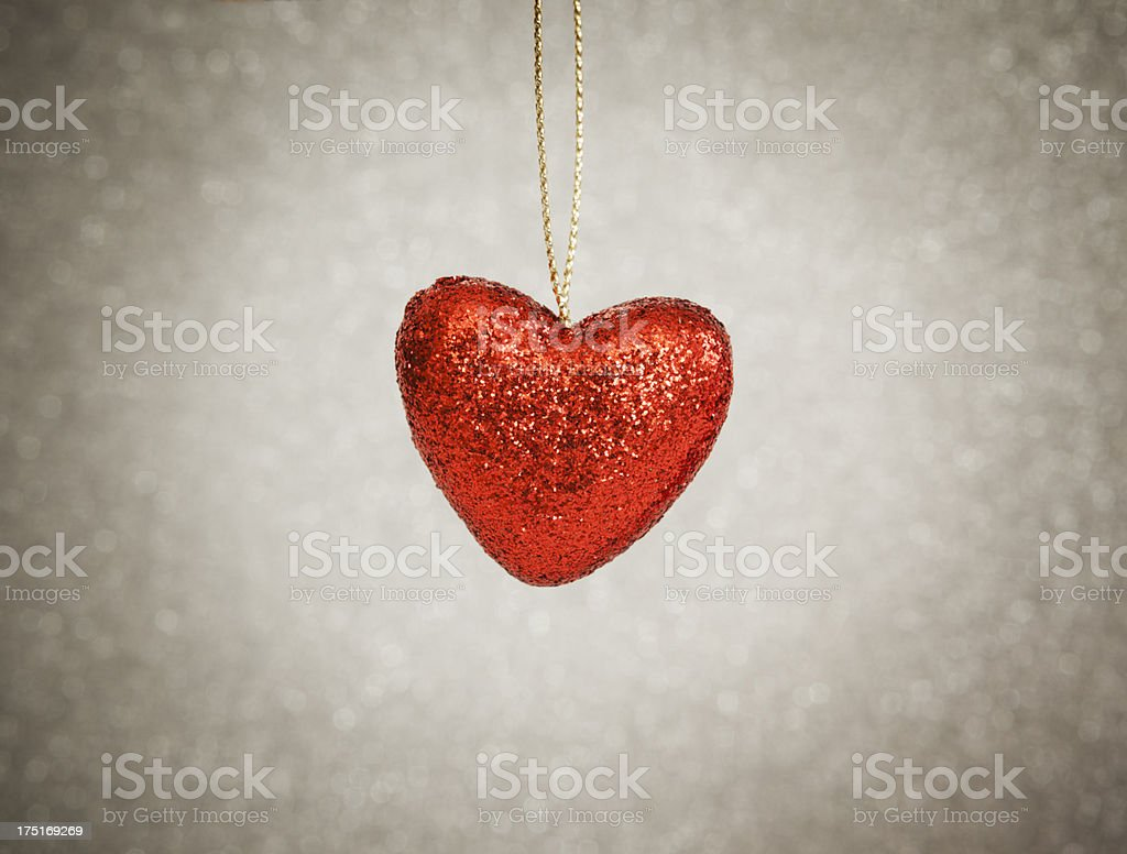 One red heart ornament royalty-free stock photo
