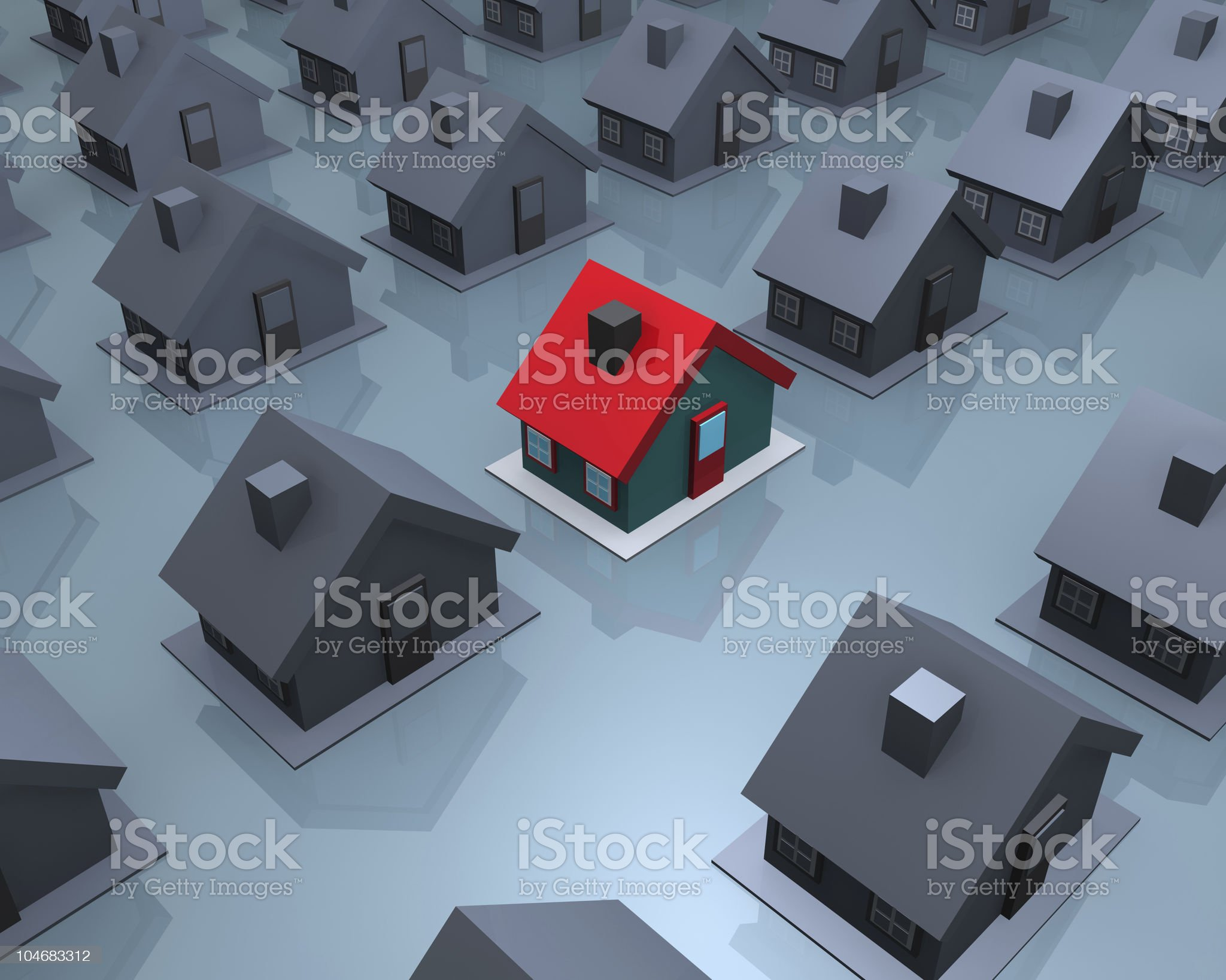 One red house amongst many grey royalty-free stock photo