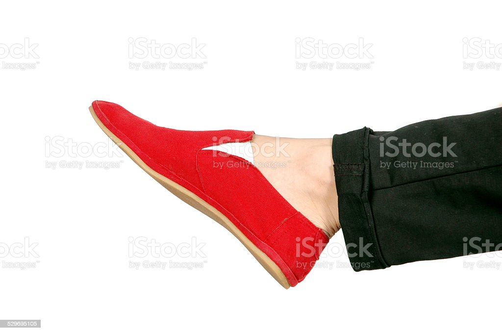 one red sneakers stock photo