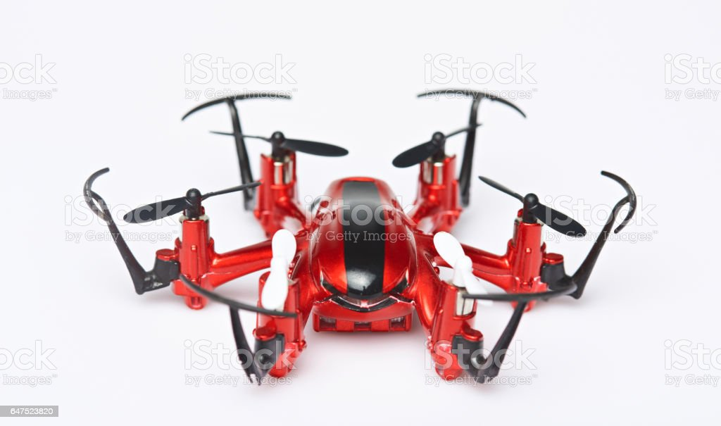 One red toy drone stock photo