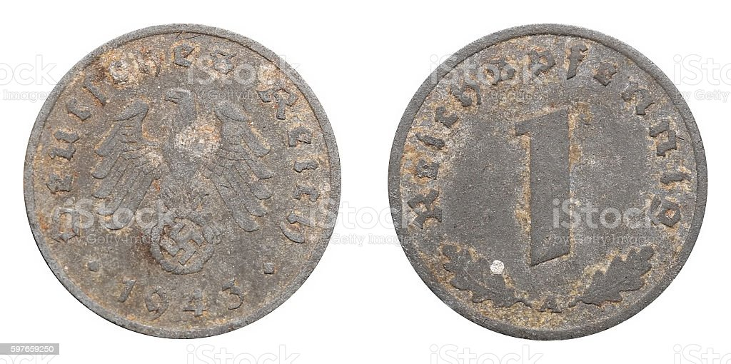 One Reichspfennig coin formerly used in Nazi Germany stock photo
