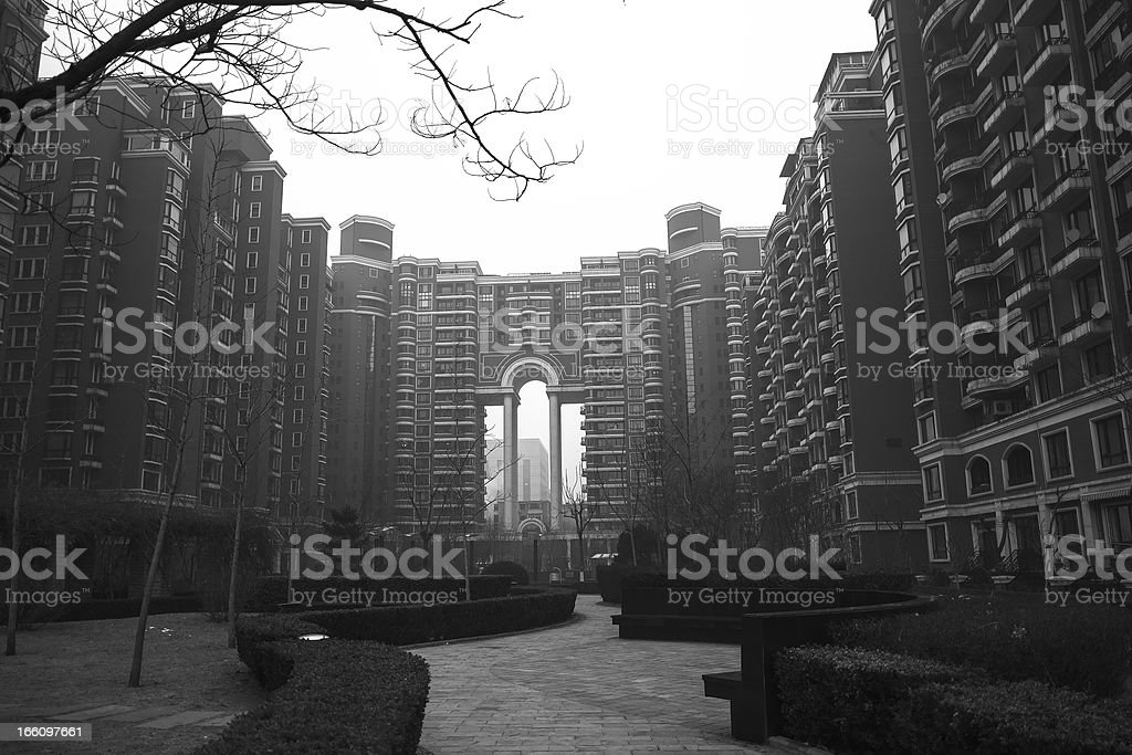 One residential block in Beijing (B&W) royalty-free stock photo