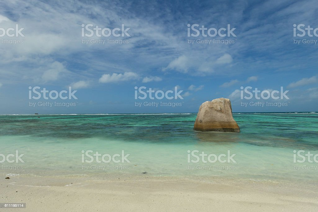 One rock at Anse Source d'Argent - Seychelles island stock photo
