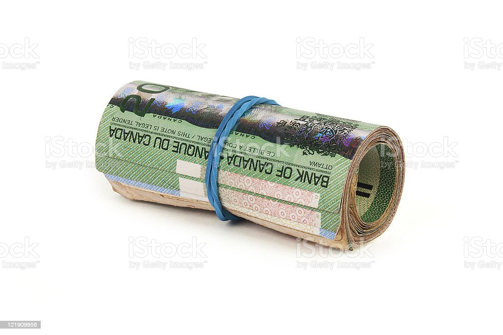 One roll of canadian dollars royalty-free stock photo