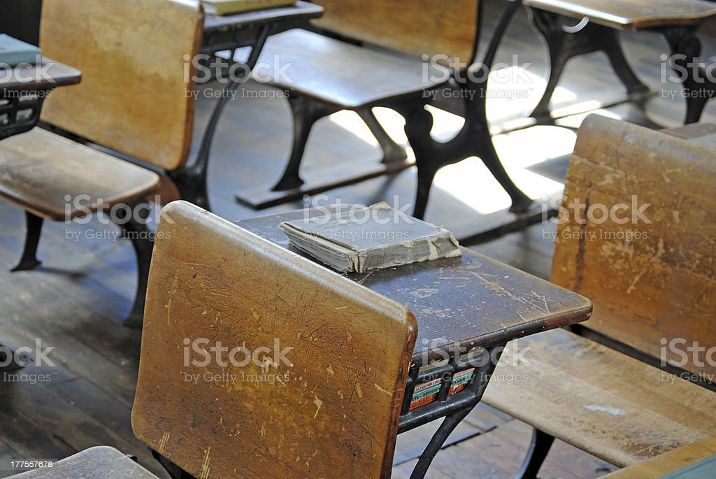 One Room School House and Desks stock photo