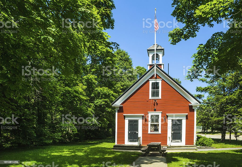One room school house in red and white stock photo