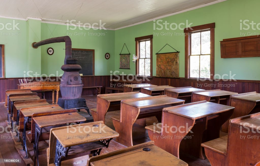 One Room Schoolhouse Interior stock photo