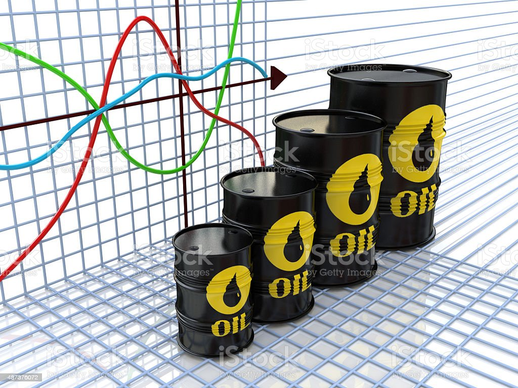 One row of oil barrels and financial chart on background stock photo