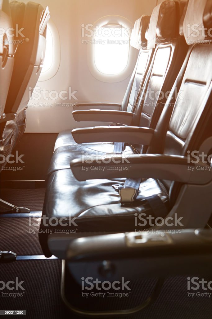 One row of seats in airplane stock photo