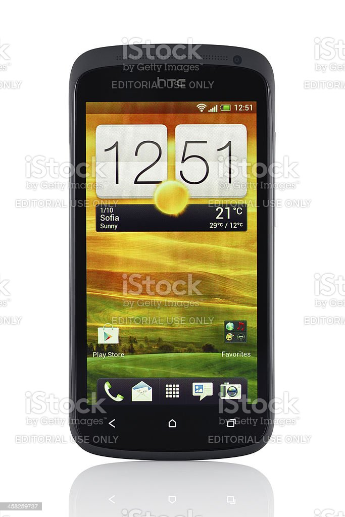 HTC One S with clipping path stock photo