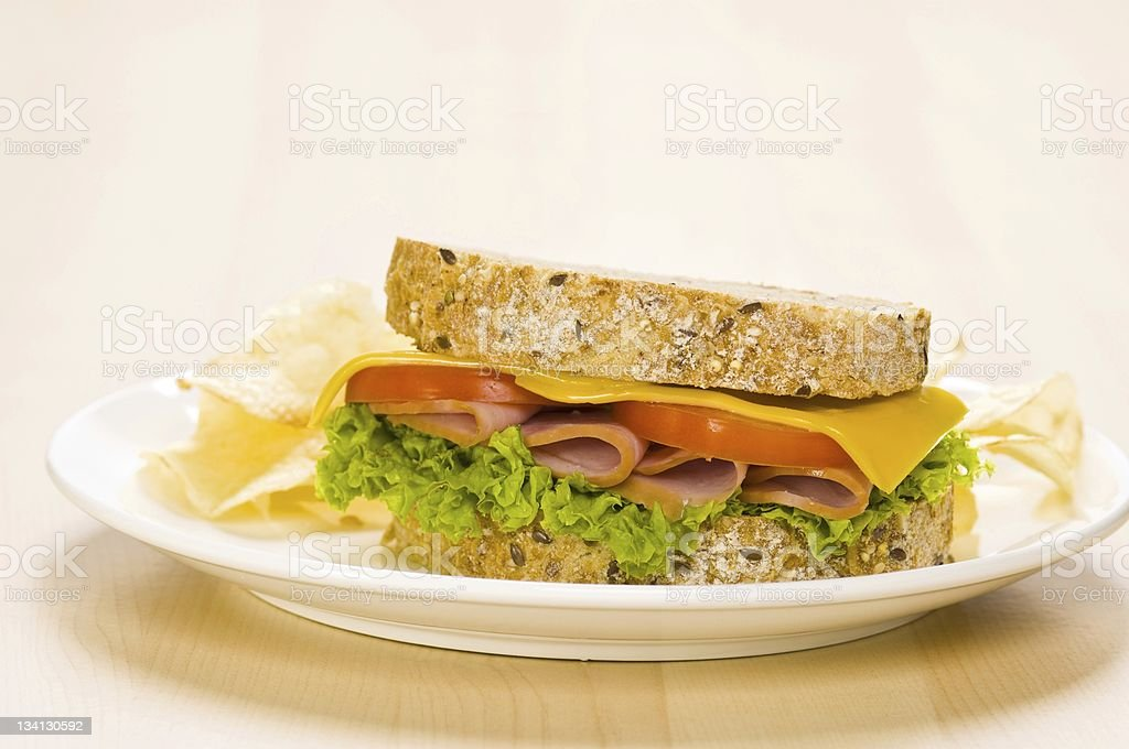 One Sandwich with rich Salad in simple setting royalty-free stock photo