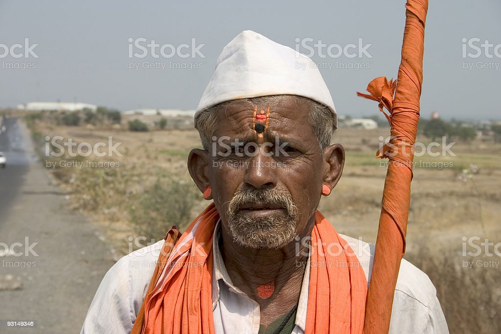 One Senior Indian Asian People Horizontal Pandit Religious stock photo