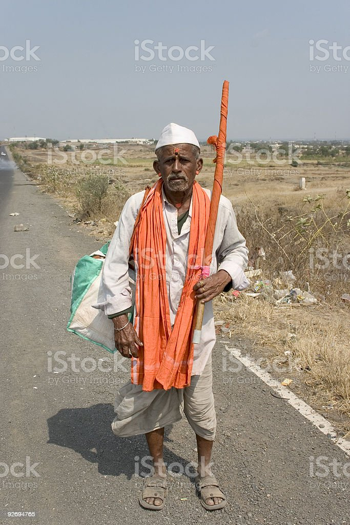 One Senior Indian Asian People Vertical Pandit Full Length Religion stock photo