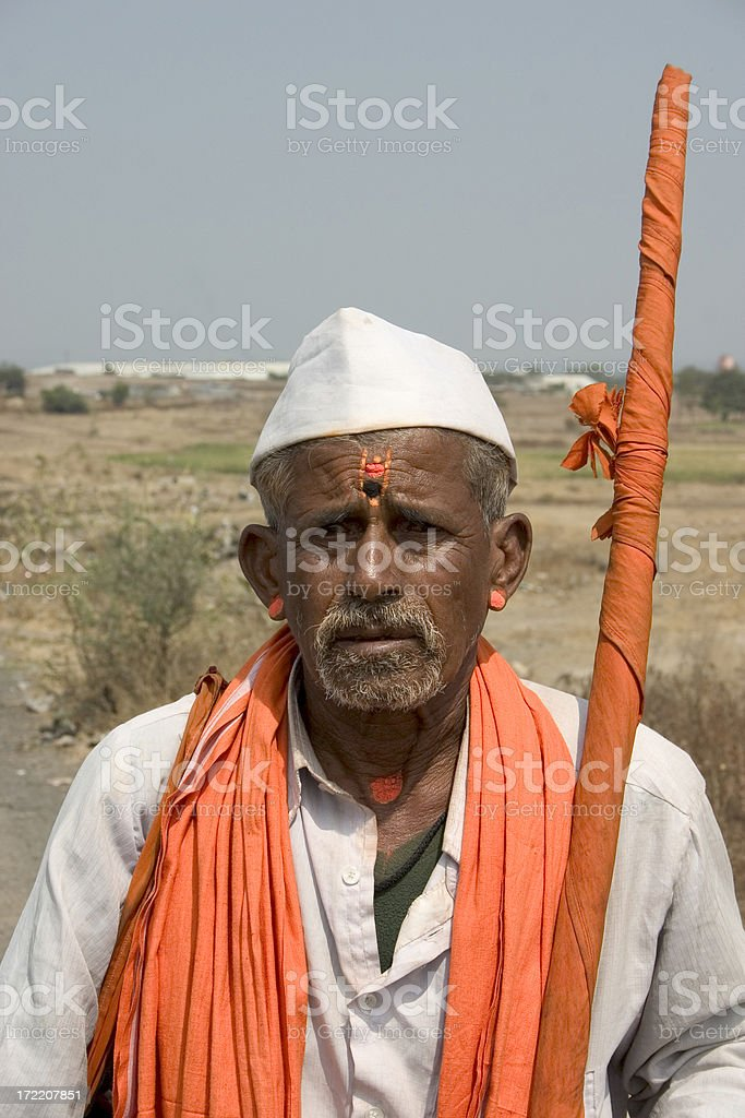 One Senior Indian Asian People Vertical Pandit Religious stock photo
