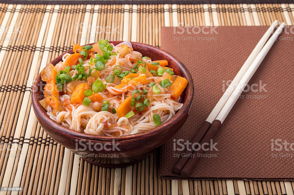 One serving of rice vermicelli hu-teu with vegetables stock photo