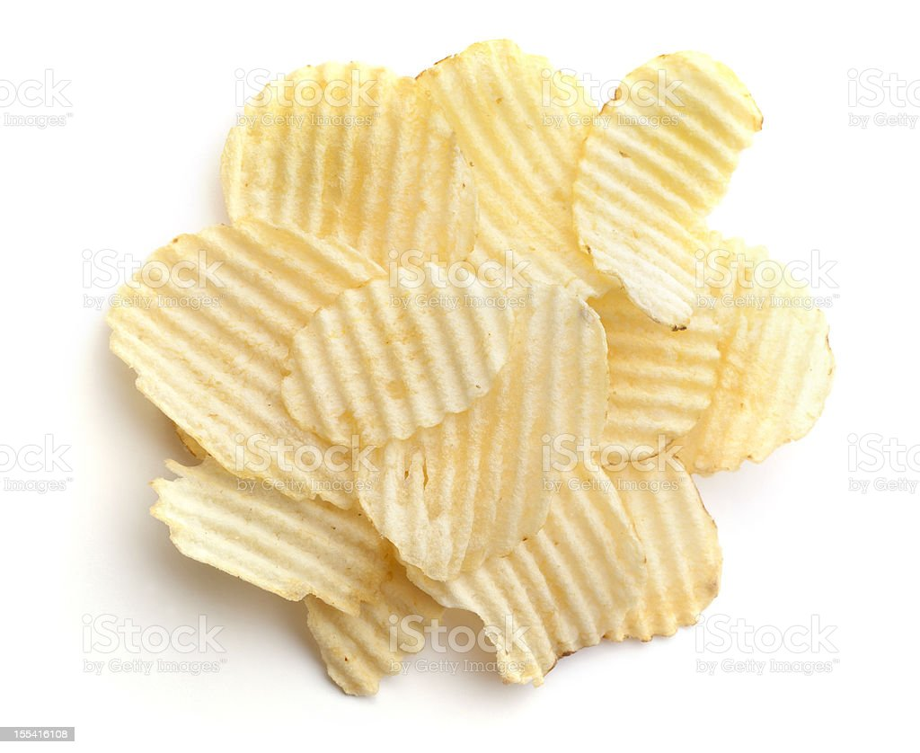 One Serving of Wavy Potato Chips 1 ounce stock photo