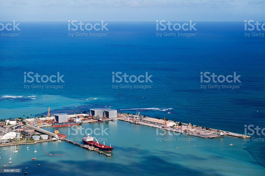 One ship anchored in the port stock photo