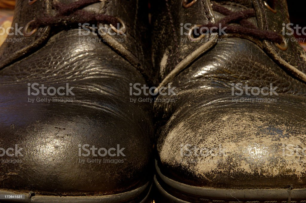 One shoe polished, one not royalty-free stock photo