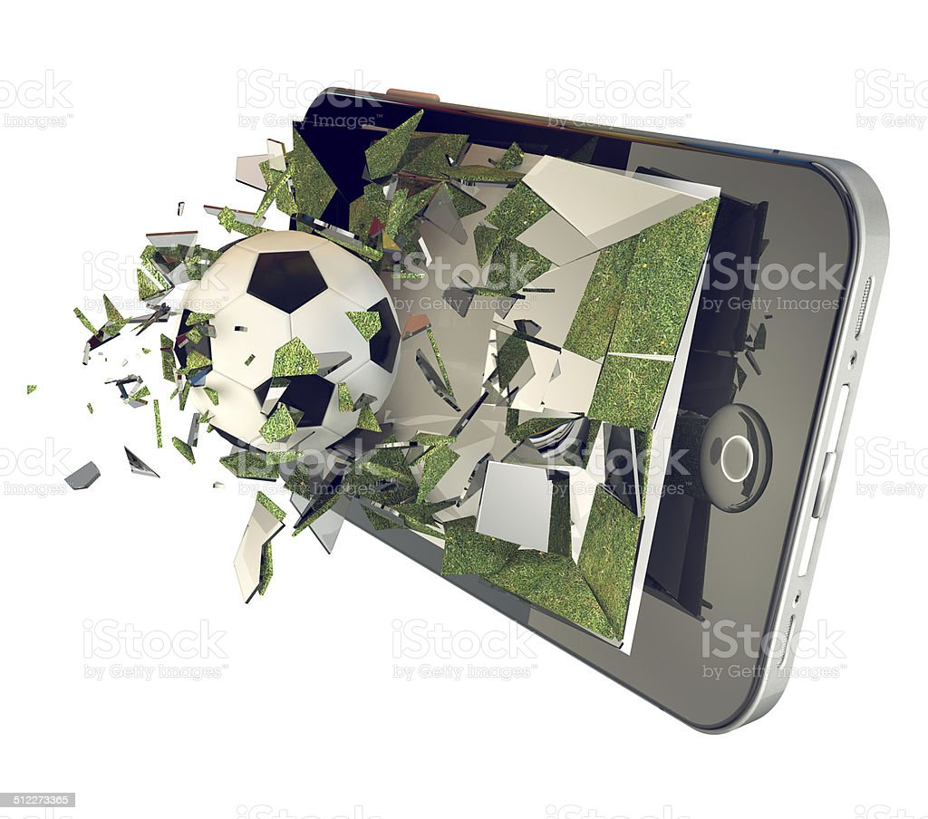 One  Soccer ball on cell phone. Broken glass  phone, football stock photo