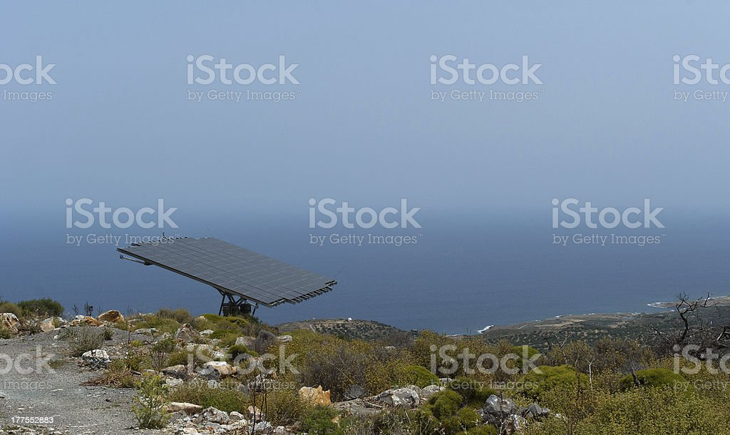 One solar battery panel on the mountain steep royalty-free stock photo