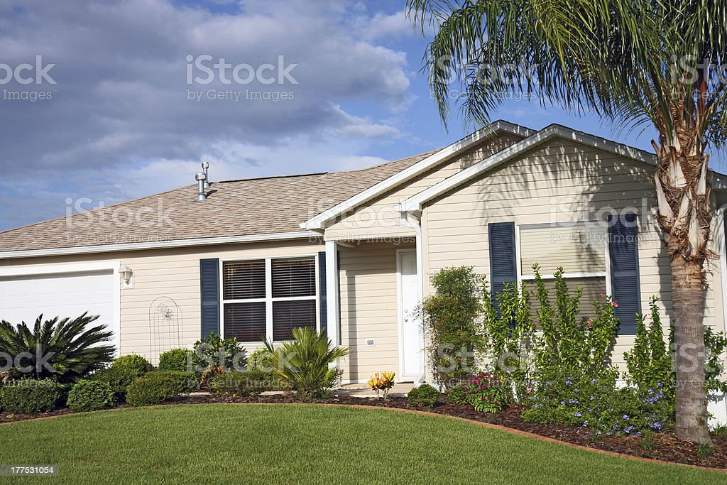 One Story, Retirement Ranch House. stock photo