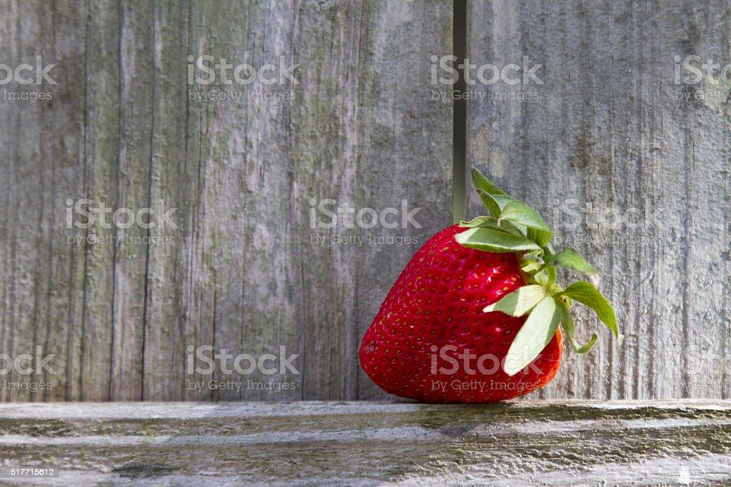 One strawberry on wood background royalty-free stock photo