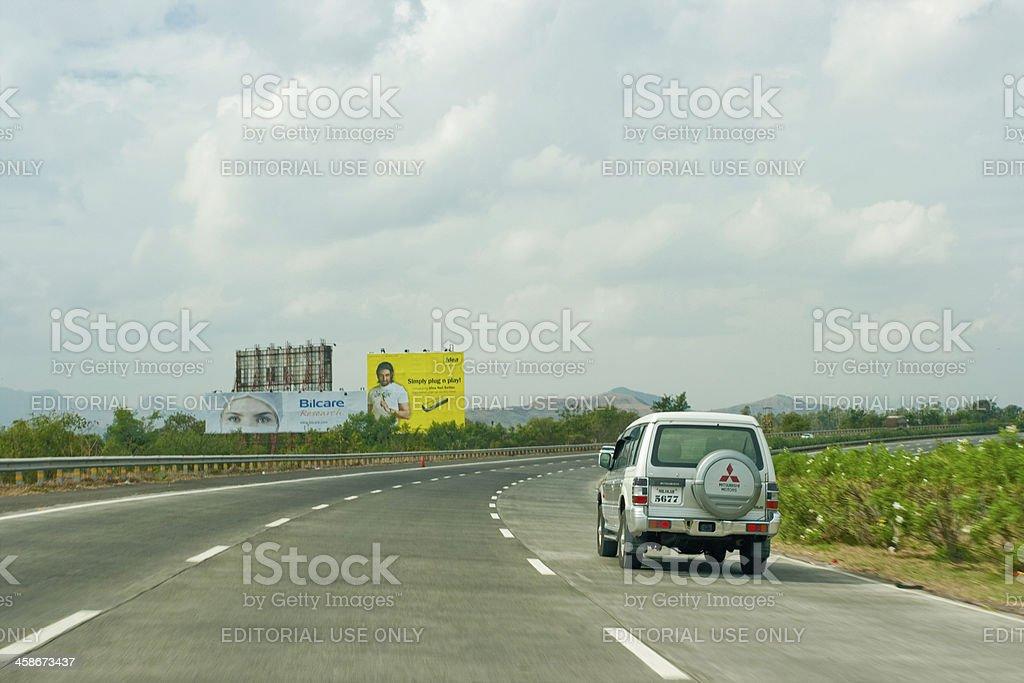 One SUV running on a Pune Mumbai Expressway in Maharashtra stock photo