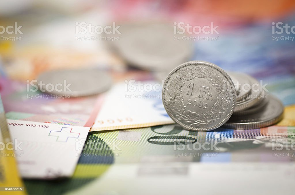 one swiss franc stock photo
