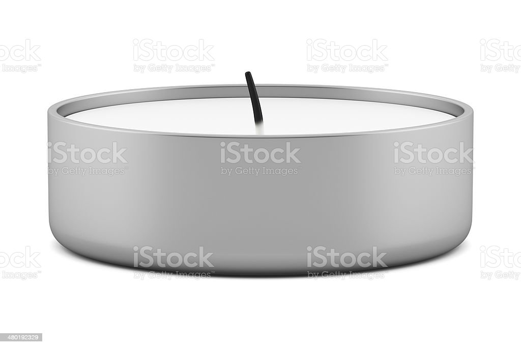 one tea light candle isolated on white background stock photo