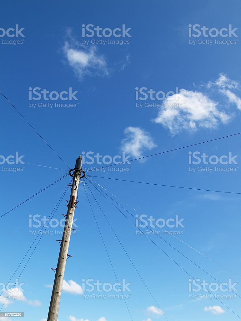 one telegraph pole under blue sky in  countryside of UK royalty-free stock photo